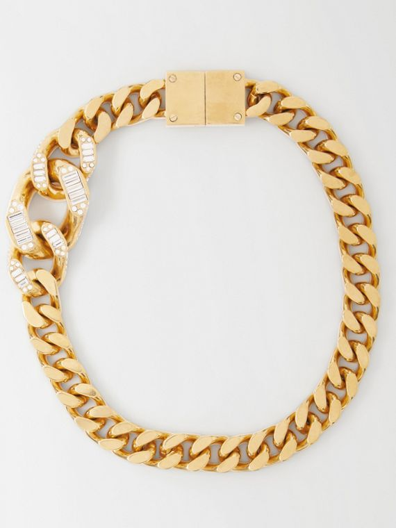 Crystal Detail Gold-plated Chain-link Necklace in Light