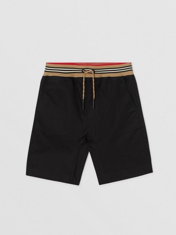 Icon Stripe Detail Cotton Twill Shorts in Black