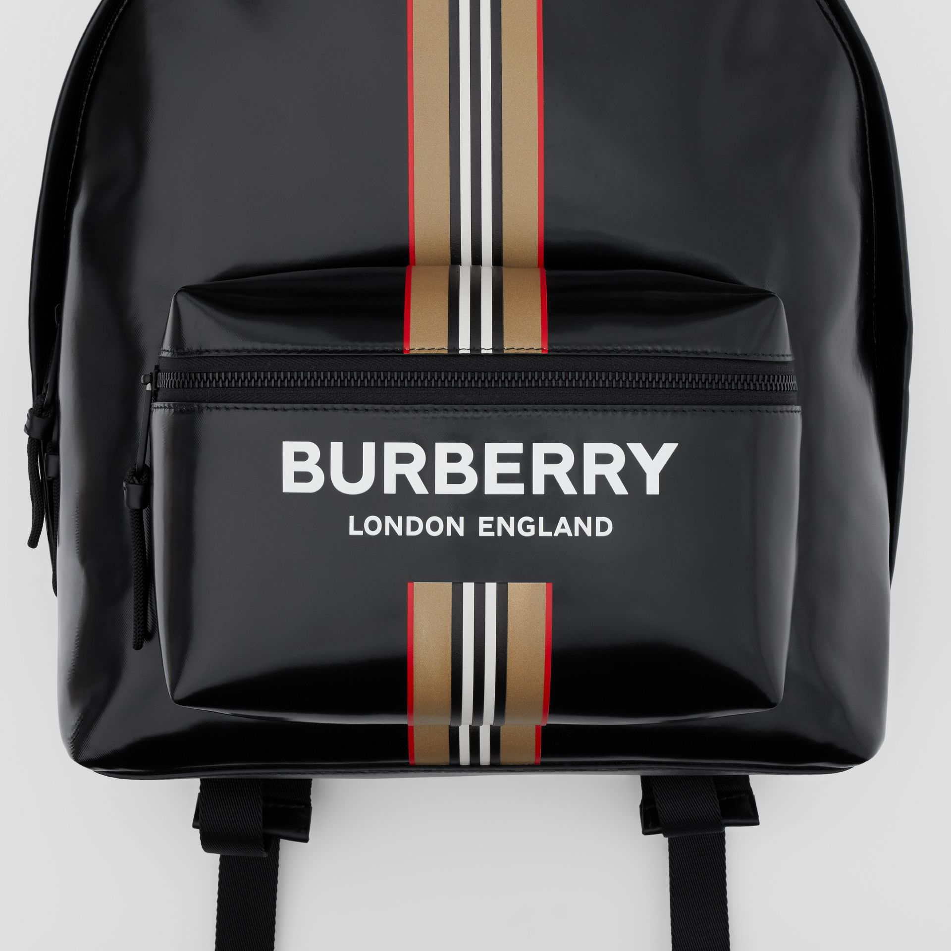 Logo and Icon Stripe Print Backpack in Black - Men | Burberry United Kingdom - gallery image 1