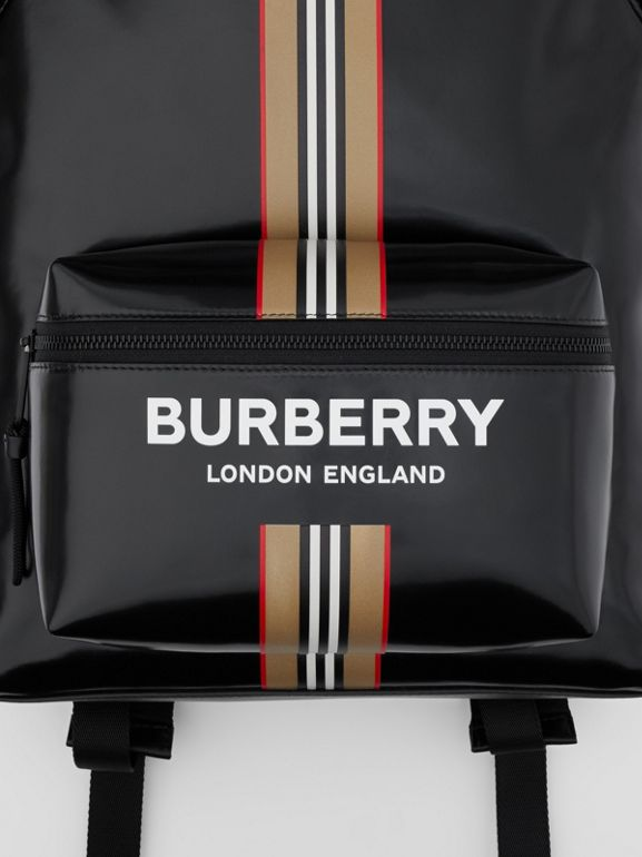 Logo and Icon Stripe Print Backpack in Black - Men | Burberry United Kingdom - cell image 1