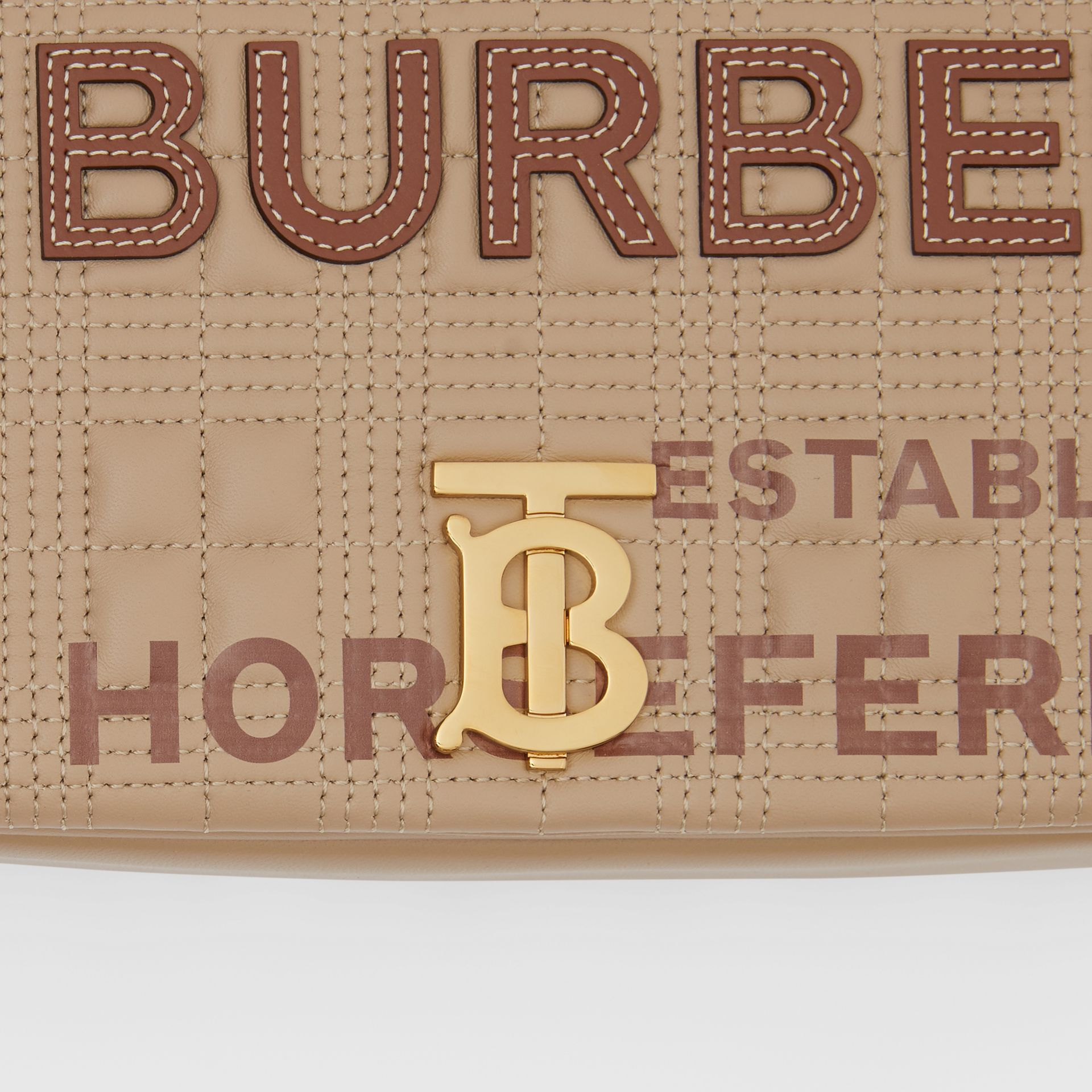 Small Quilted Horseferry Print Lambskin Lola Bag in Honey | Burberry - gallery image 1
