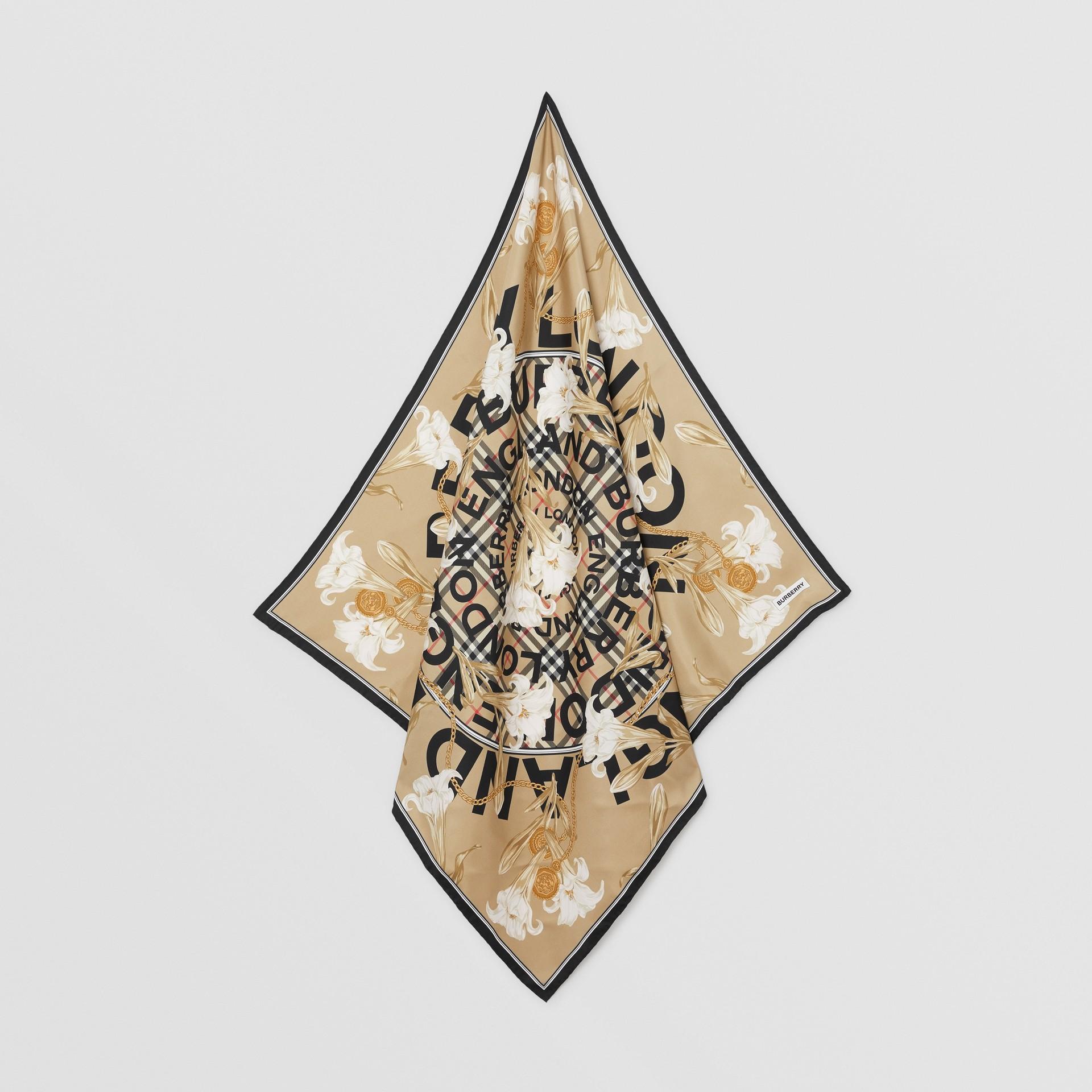 Foulard in seta con motivi d'archivio (Beige) | Burberry - immagine della galleria 3