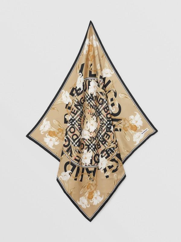 Foulard in seta con motivi d'archivio (Beige) | Burberry - cell image 3