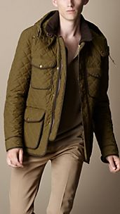 Leather Trim Quilted Field Jacket