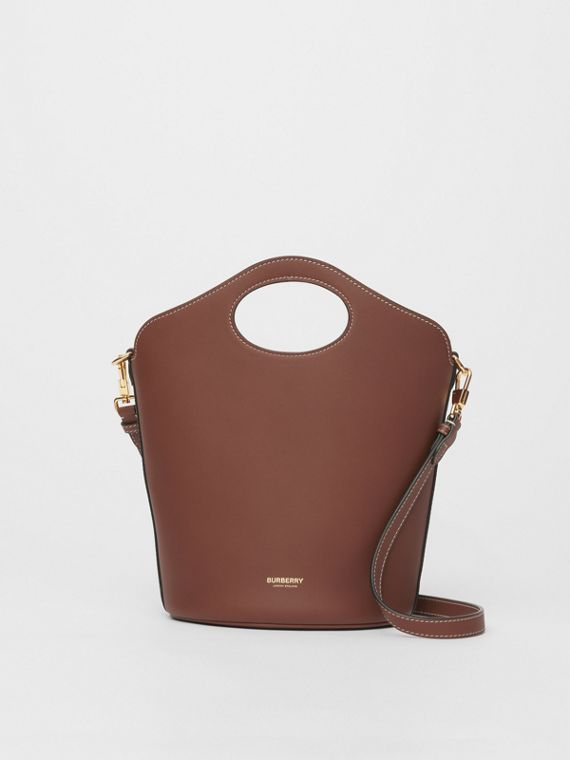 Small Leather Pocket Bucket Bag in Tan