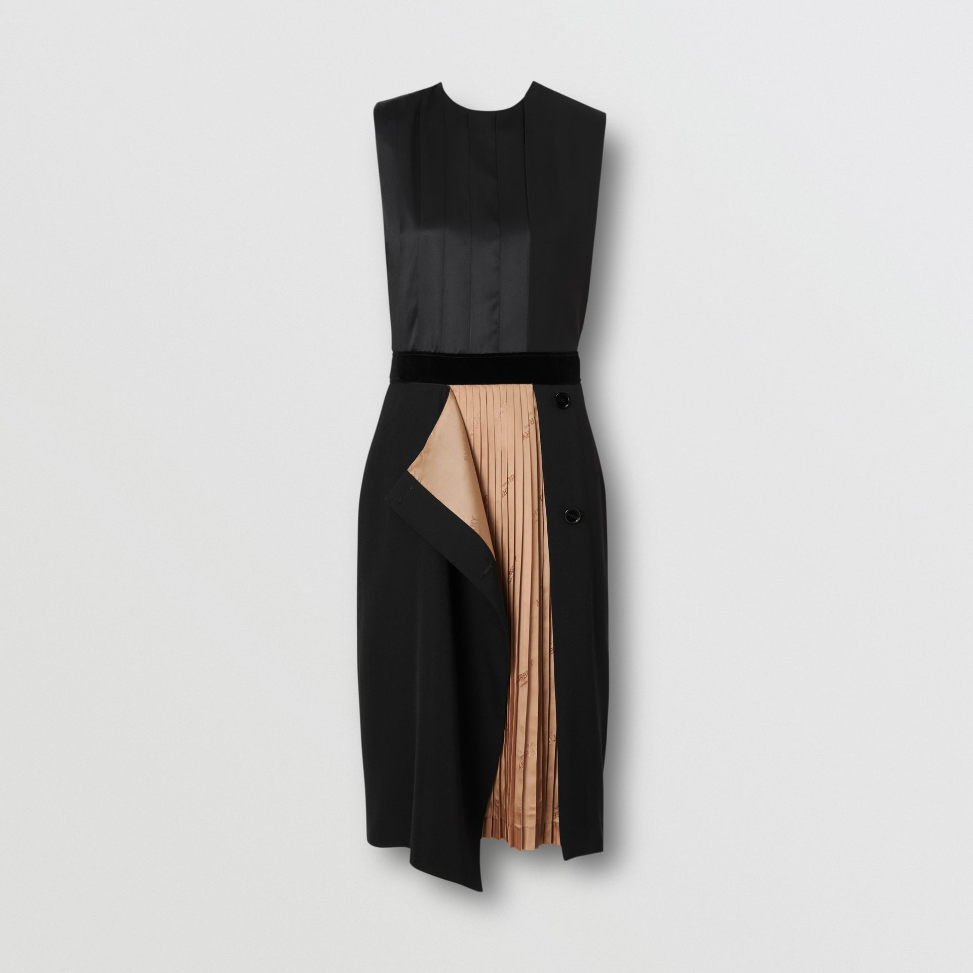 Panel Detail Silk and Wool Shift Dress in Black - Women | Burberry - gallery image 3