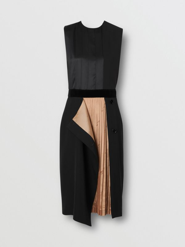 Panel Detail Silk and Wool Shift Dress in Black - Women | Burberry - cell image 3