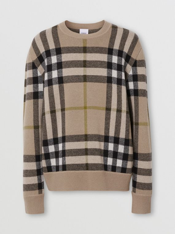 Check Cashmere Jacquard Sweater in Soft Fawn
