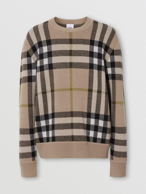 Suéter de cashmere em jacquard com estampa xadrez (Fulvo Suave)