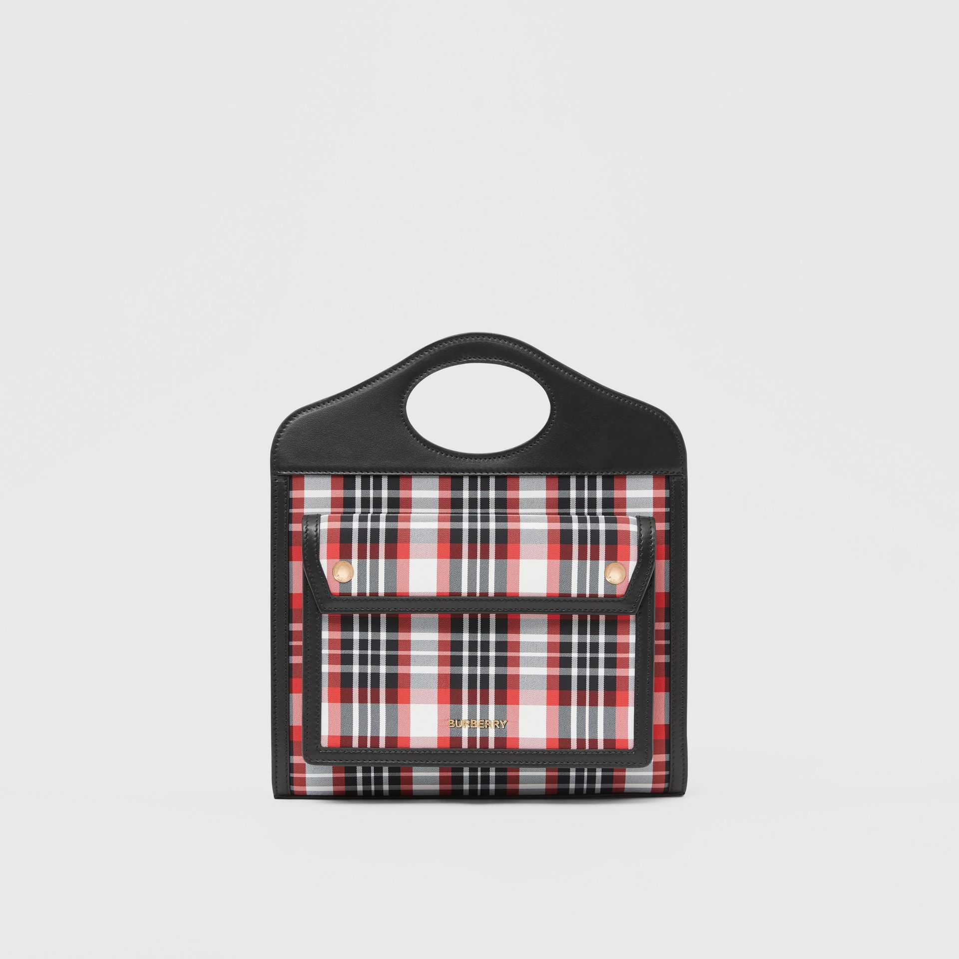 Mini Tartan Nylon and Leather Pocket Bag in Bright Red - Women | Burberry - gallery image 0