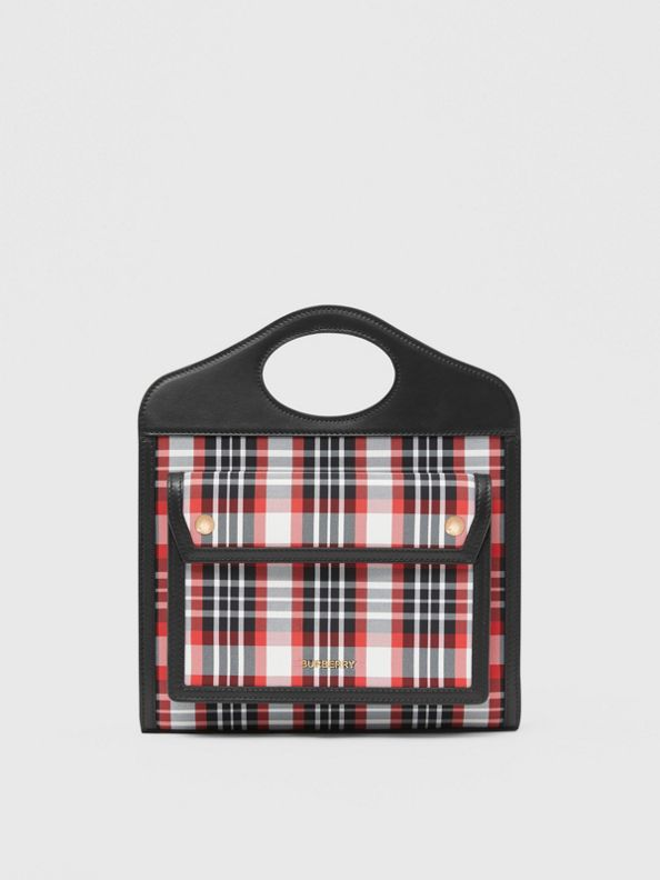 Mini Tartan Nylon and Leather Pocket Bag in Bright Red