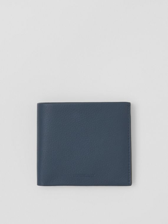 Grainy Leather International Bifold Wallet in Ash Blue
