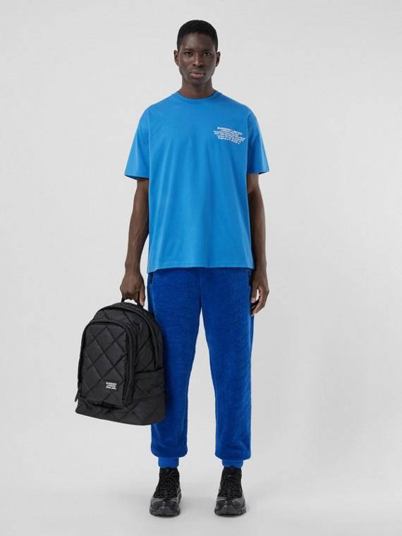 Camiseta oversize de algodão com estampa geográfica (Azul Royal Intenso)