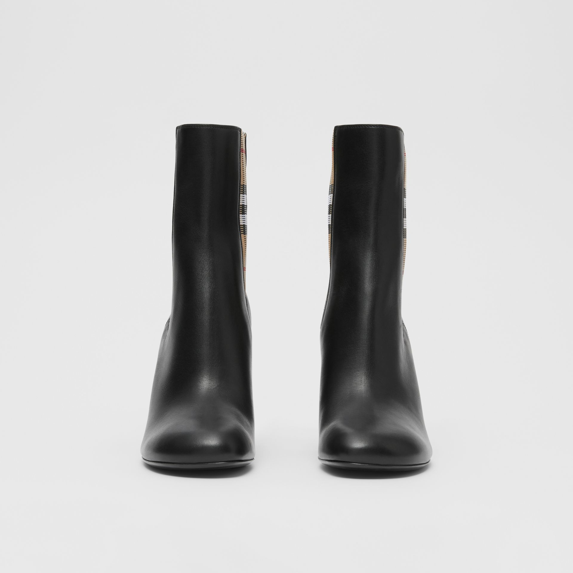 Vintage Check Detail Leather Ankle Boots in Black - Women | Burberry United Kingdom - gallery image 2