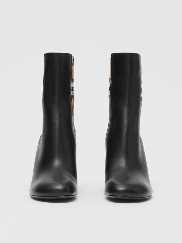 Vintage Check Detail Leather Ankle Boots in Black - Women | Burberry United Kingdom - cell image 2