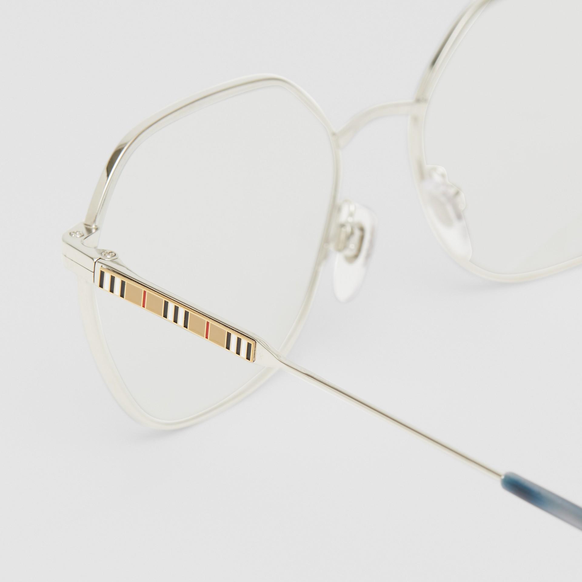 Geometric Optical Frames in Grey Tortoiseshell - Women | Burberry - gallery image 1