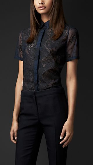 Sheer Organza Lace Shirt
