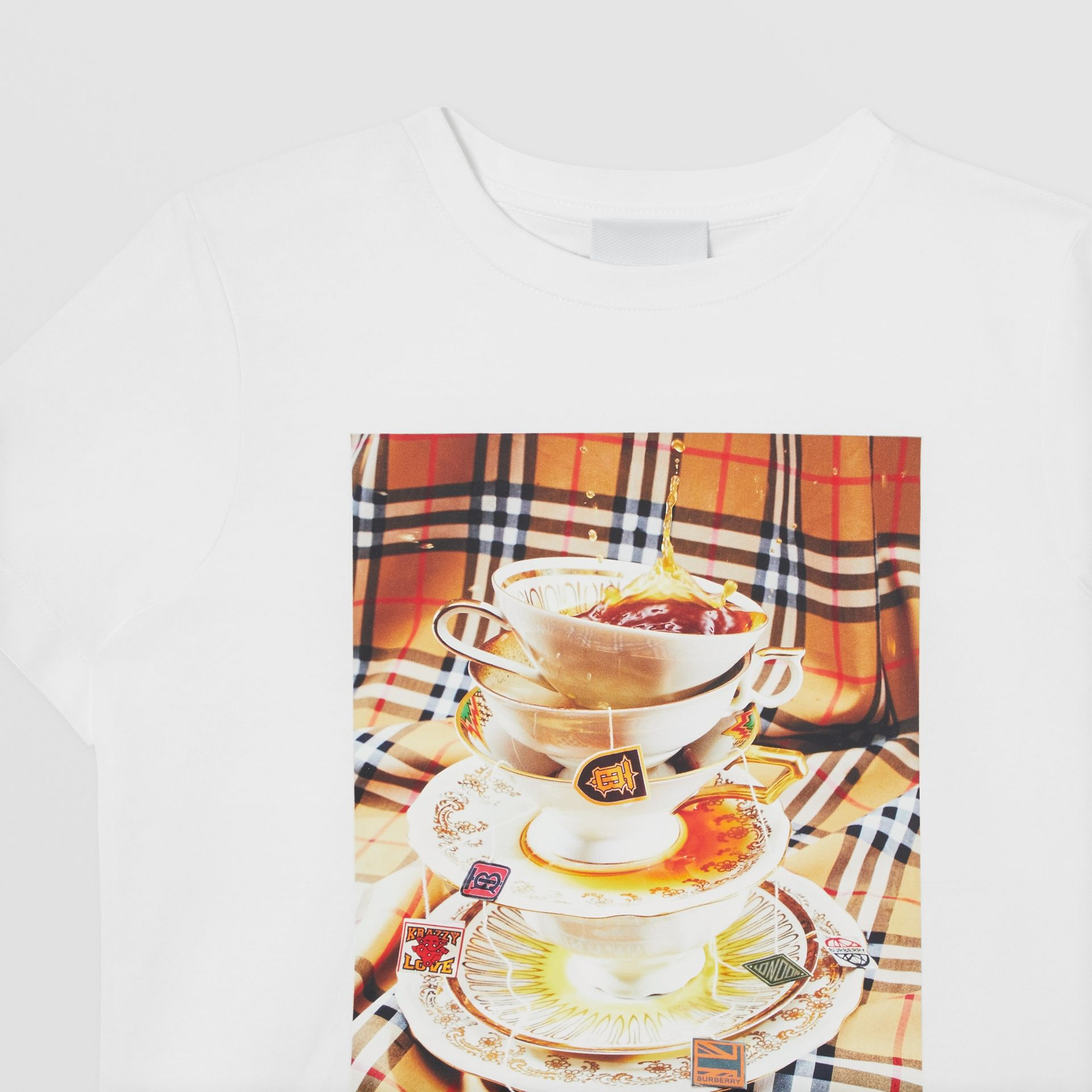 Teacup Print T-shirt in Multicolour | Burberry Canada - gallery image 5