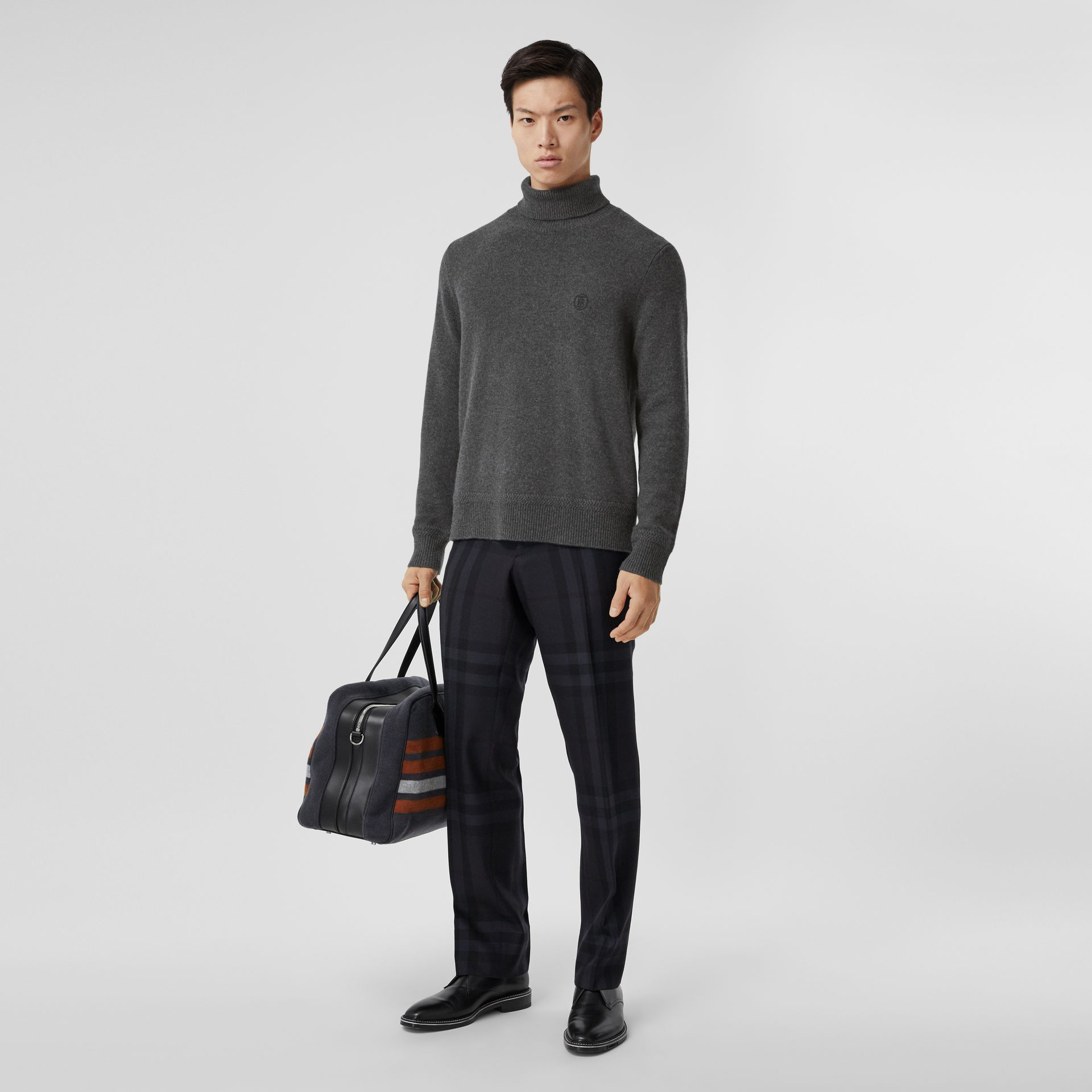 Monogram Motif Cashmere Roll-neck Sweater in Charcoal - Men | Burberry - gallery image 5