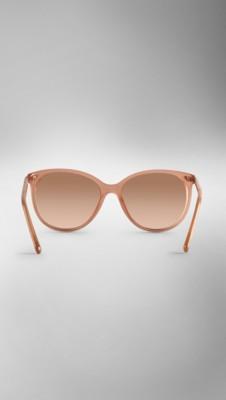 古典红宝石色 圆型镜框金属细节设计太阳眼镜 - 图像 3