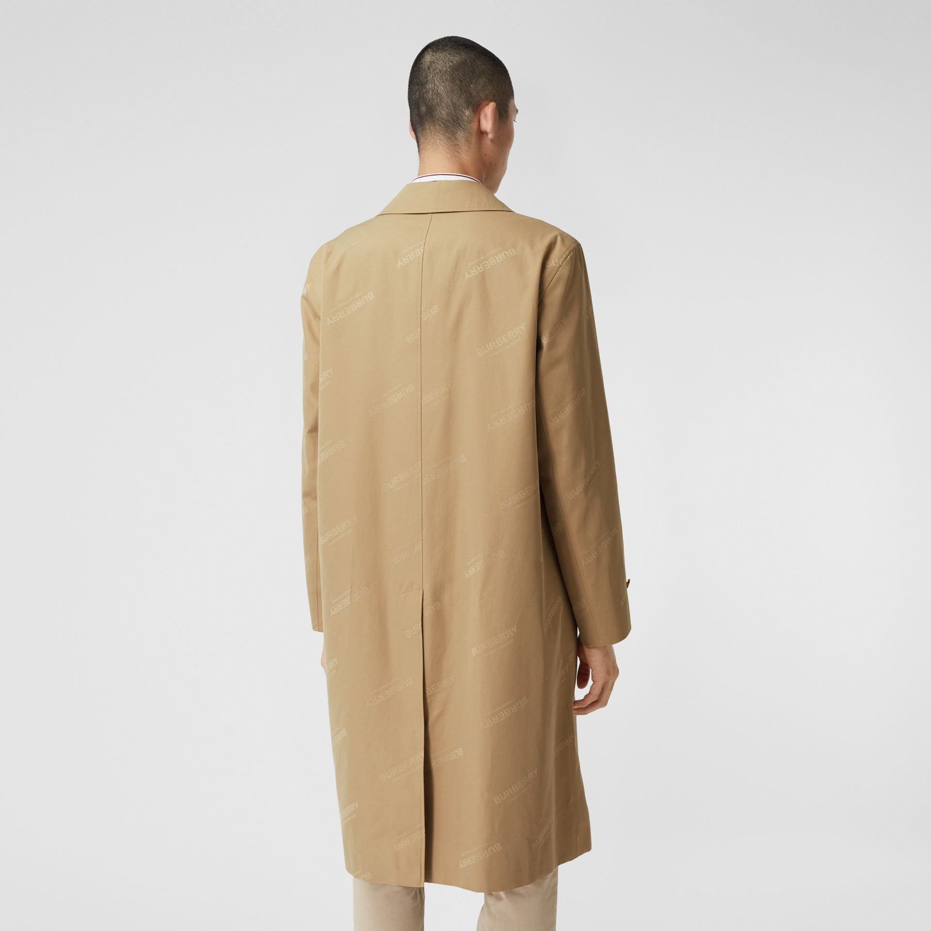 Logo Jacquard Cotton Twill Car Coat in Soft Fawn - Men | Burberry - gallery image 2