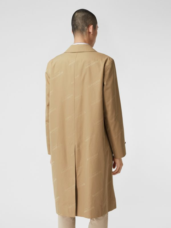 Logo Jacquard Cotton Twill Car Coat in Soft Fawn - Men | Burberry - cell image 2