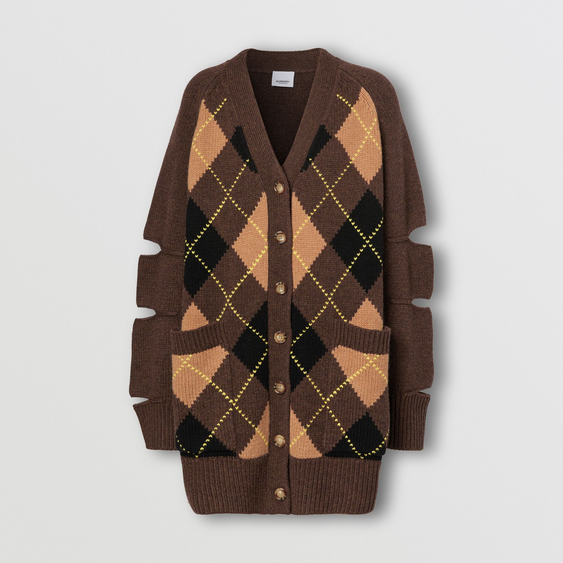 Cut-out Detail Argyle Intarsia Wool Cashmere Cardigan in Dark Khaki - Women | Burberry - gallery image 3