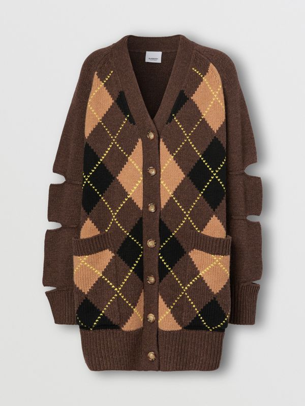 Cut-out Detail Argyle Intarsia Wool Cashmere Cardigan in Dark Khaki - Women | Burberry - cell image 3