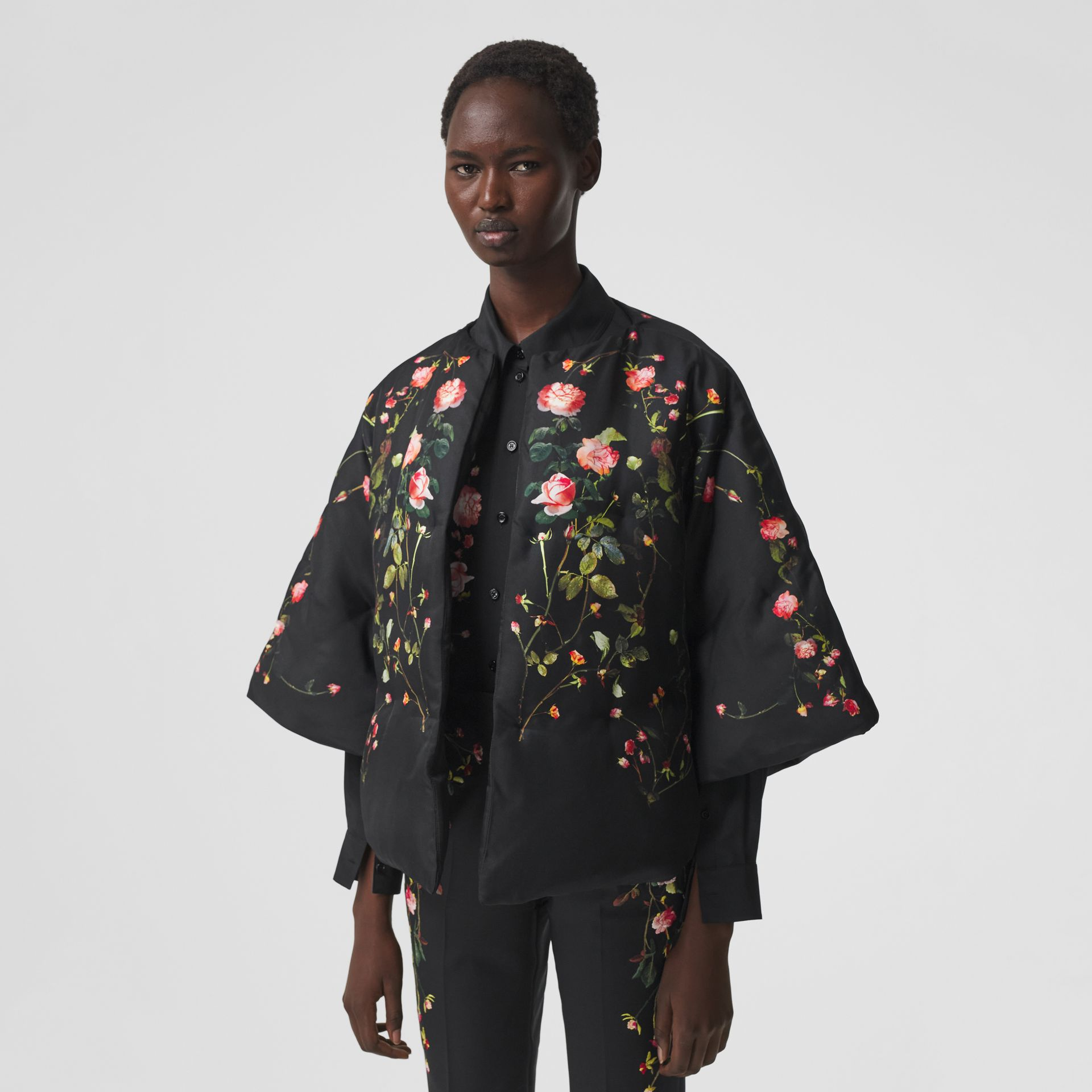 Rose Print Silk Cape in Black - Women | Burberry - gallery image 5