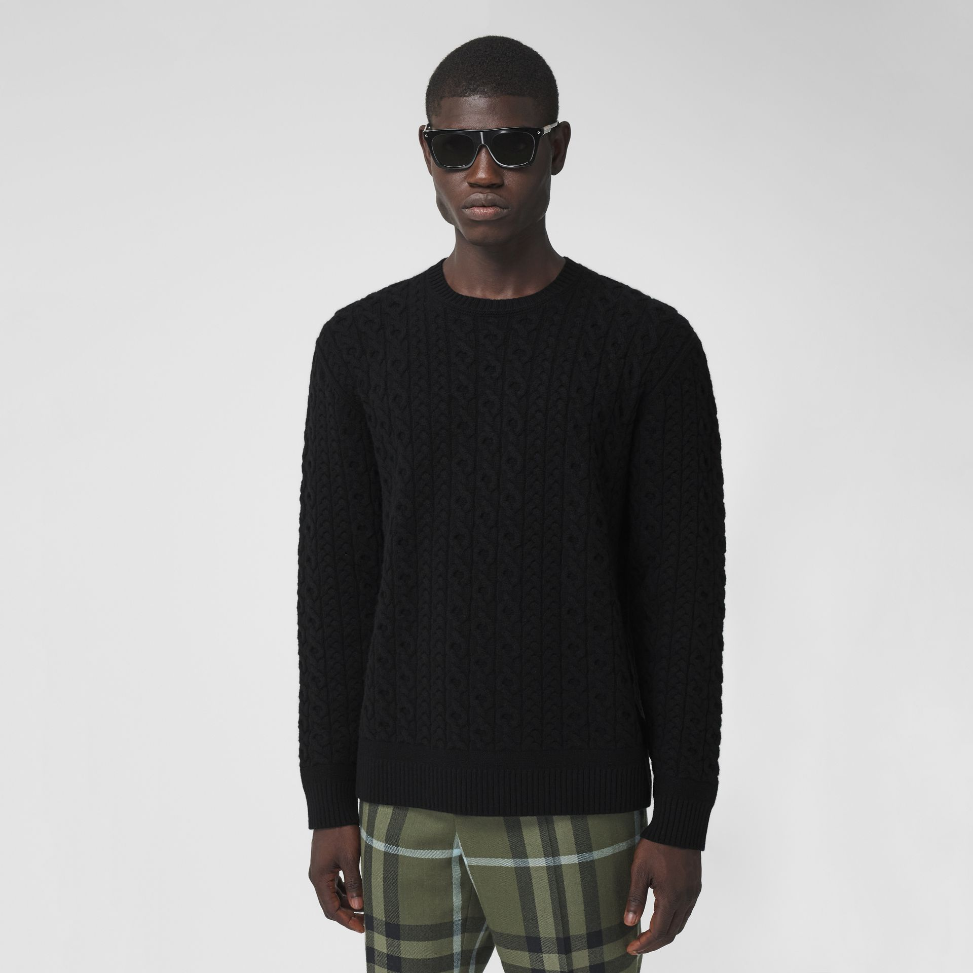 Cable Knit Wool Cashmere Sweater in Black - Men | Burberry Canada - gallery image 0