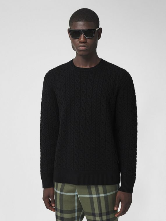 Cable Knit Wool Cashmere Sweater in Black