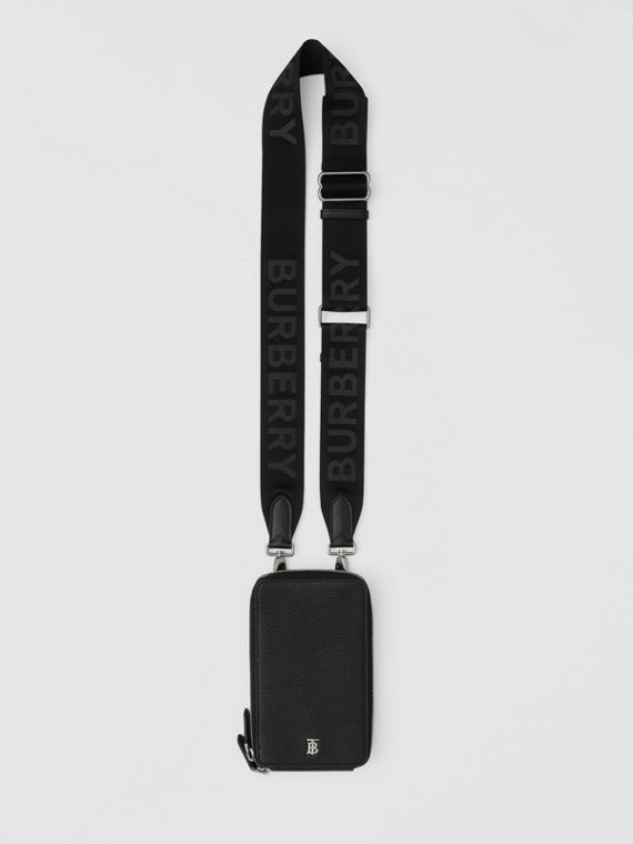 Grainy Leather Phone Case with Detachable Strap in Black