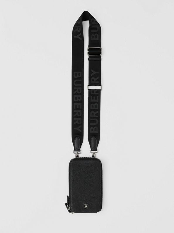 粒面皮革手機保護套附可拆式背帶 (黑色)