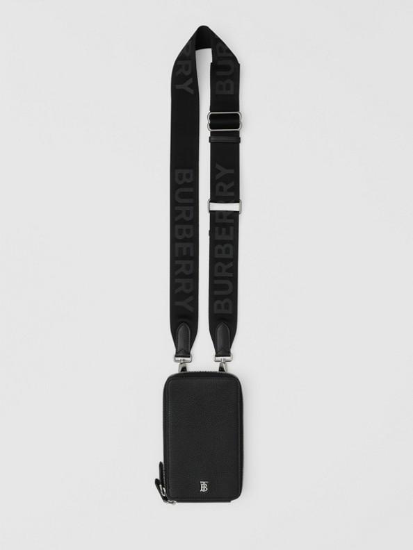 Funda para móvil en piel granulada con asa extraíble (Negro)