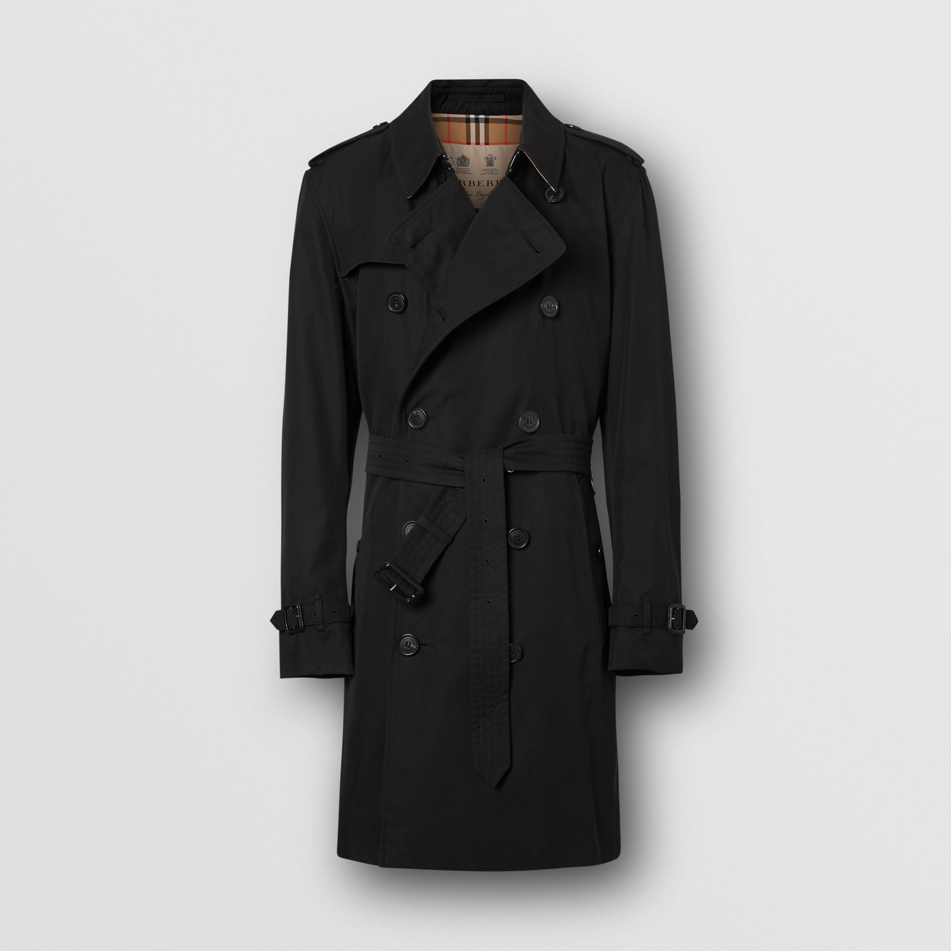 The Mid-length Kensington Heritage Trench Coat in Black - Men | Burberry Canada - gallery image 7