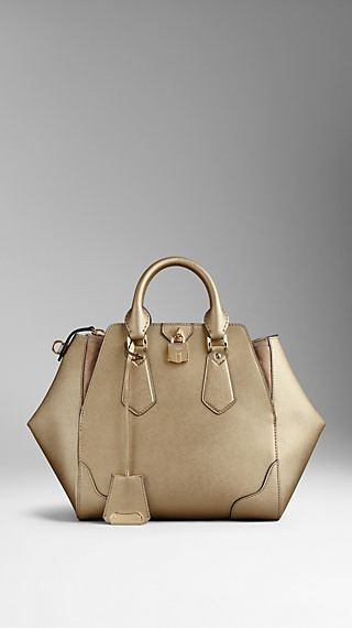 Medium Metallic Leather Tote Bag