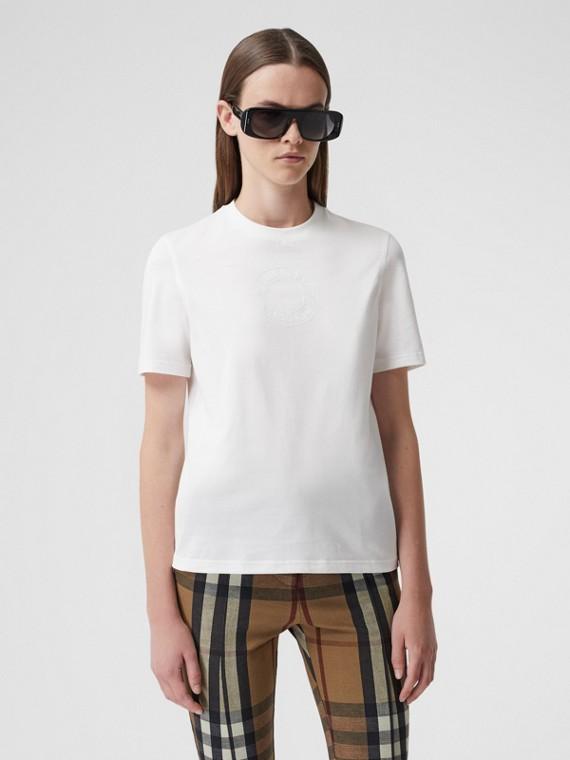 T-shirt in cotone con logo stampato (Bianco)