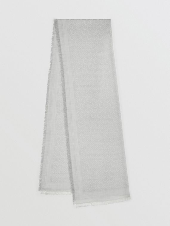 Monogram Wool Silk Jacquard Scarf in Pebble Grey