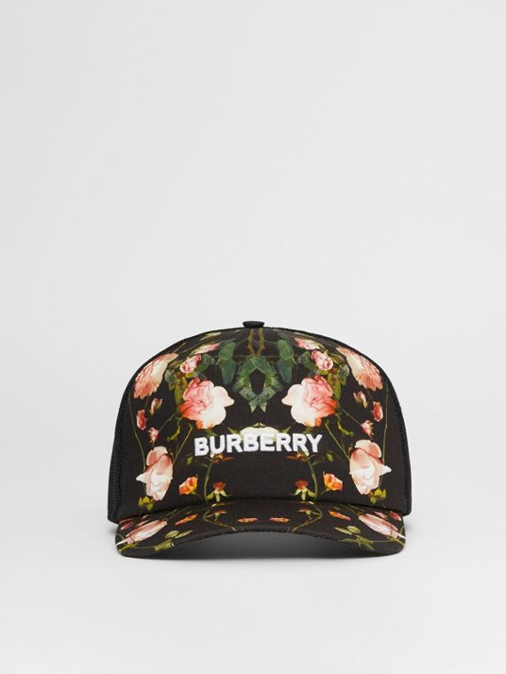 Rose Print Cotton and Mesh Baseball Cap in Black