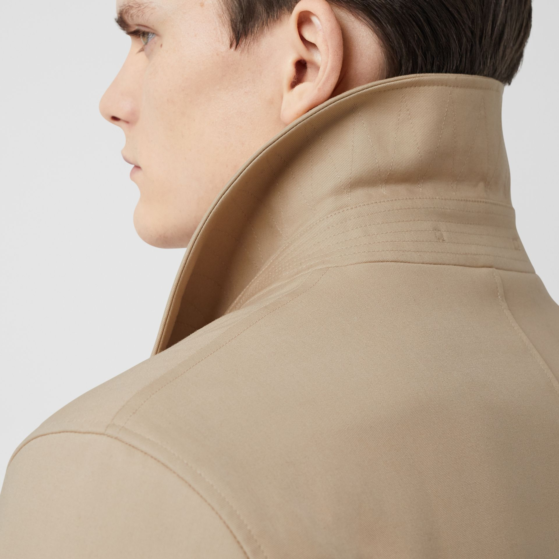 Stripe Detail Cotton Gabardine Car Coat in Soft Fawn - Men | Burberry - gallery image 4