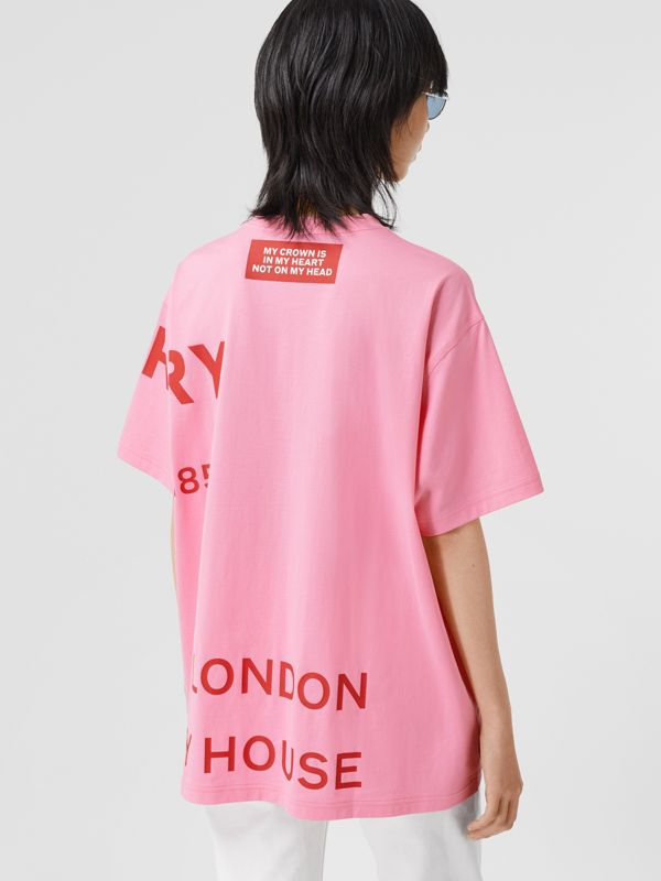 Horseferry Print Cotton Oversized T-shirt in Bubblegum Pink | Burberry - cell image 2