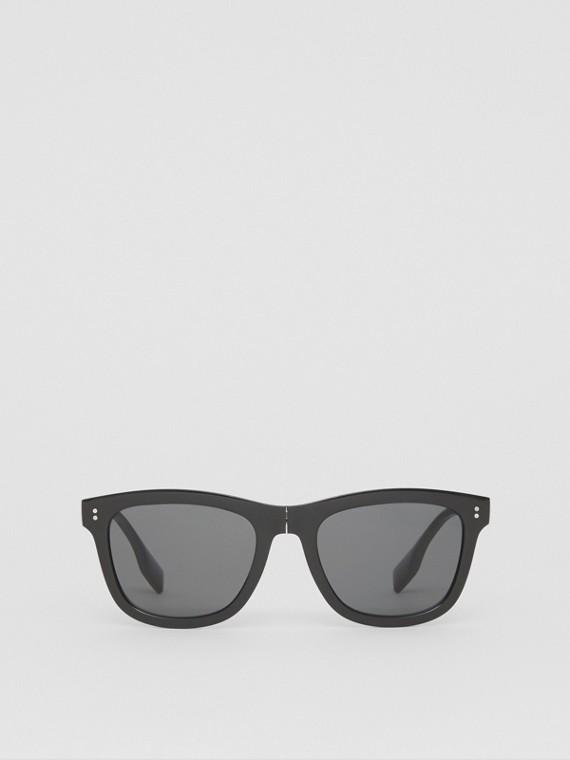Faltbare Sonnenbrille mit eckigem Gestell und Logodetail (Schwarz)