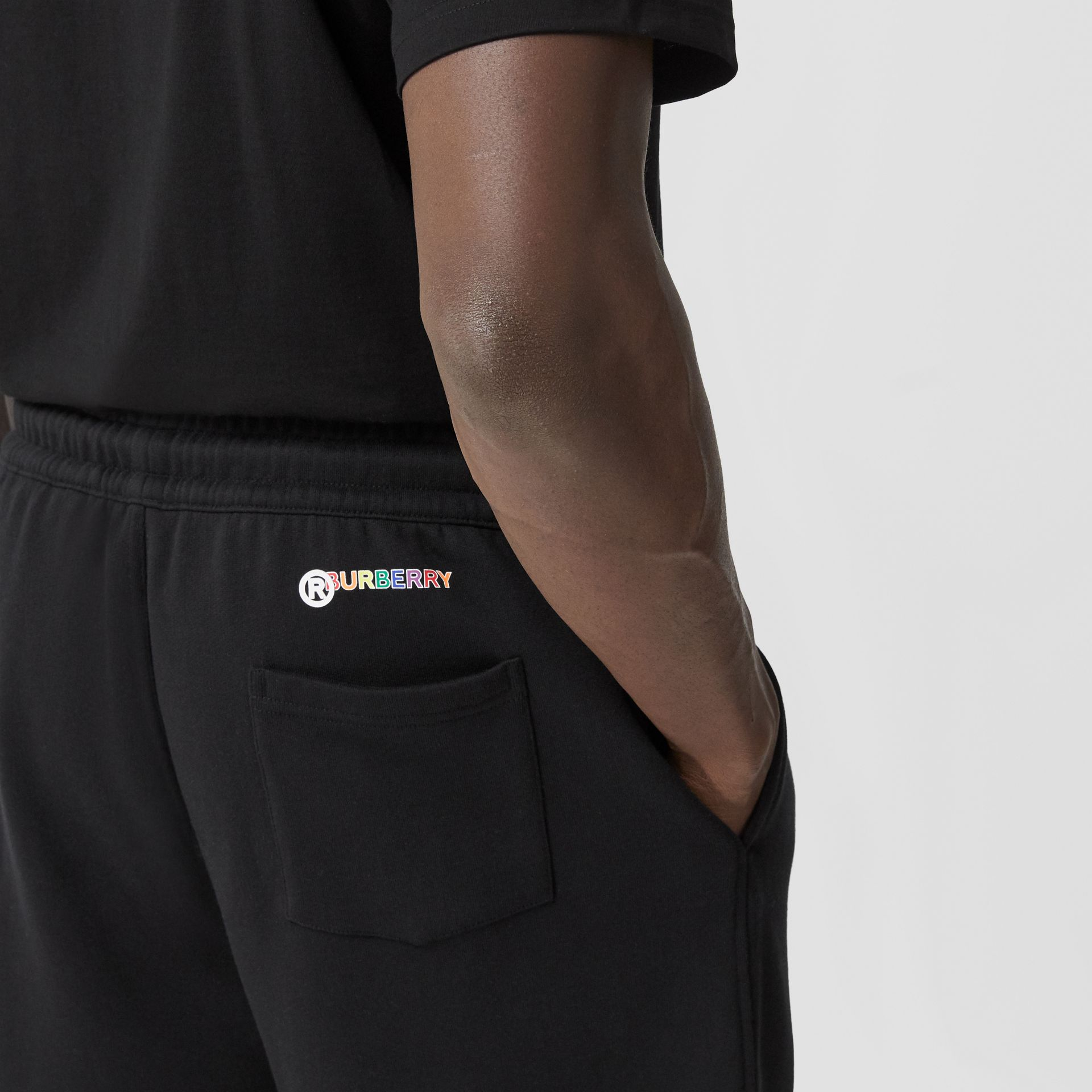 Rainbow Appliqué Cotton Drawcord Shorts – Unisex in Black | Burberry United Kingdom - gallery image 9