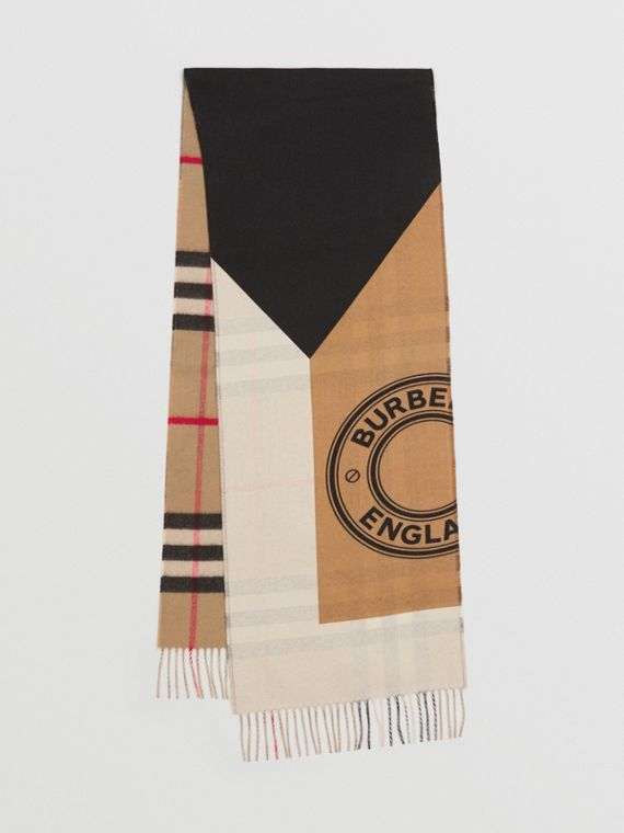 Reversible Montage Print Cashmere Scarf in White