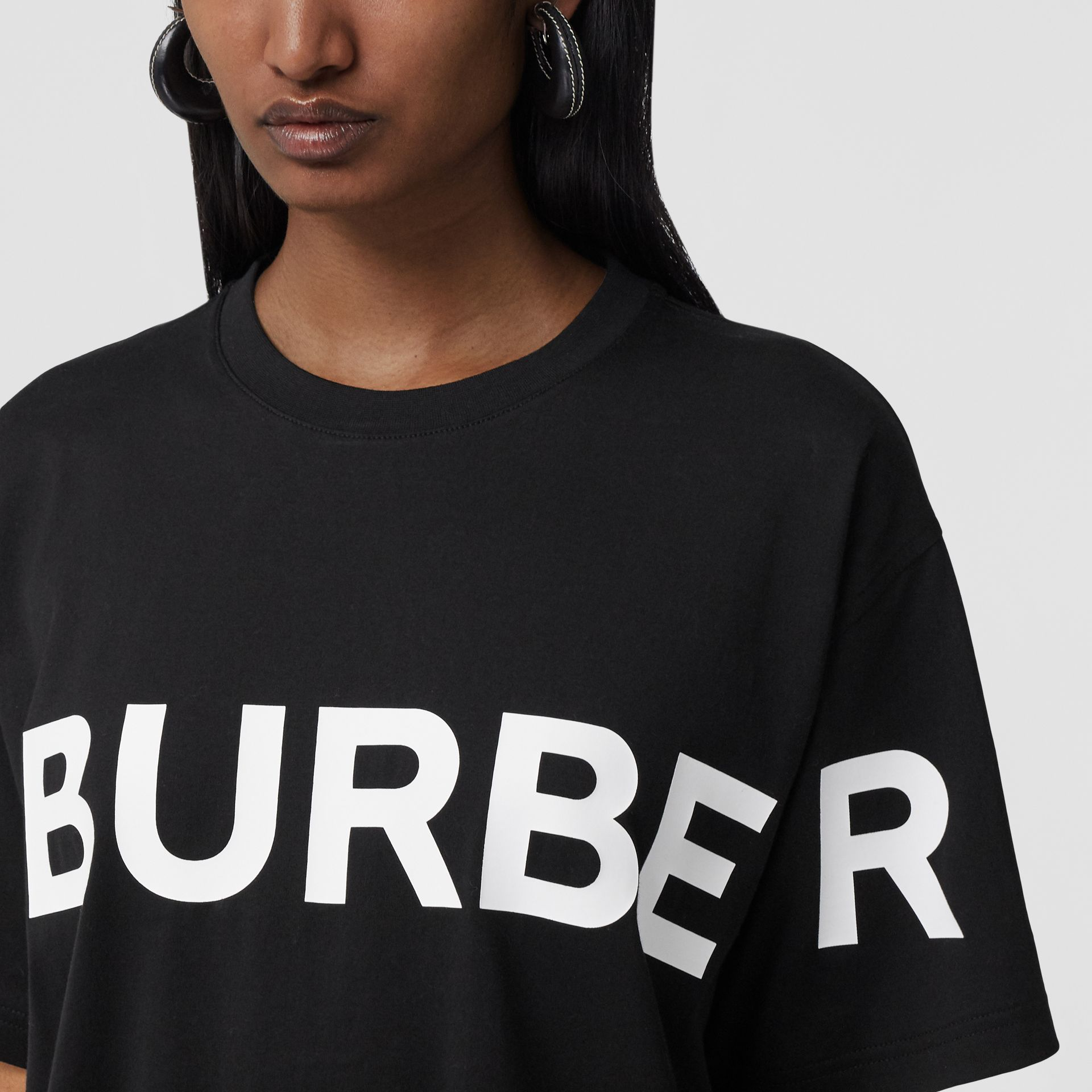 Horseferry Print Cotton Oversized T-shirt in Black - Women | Burberry - gallery image 1