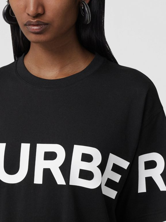 Horseferry Print Cotton Oversized T-shirt in Black - Women | Burberry - cell image 1
