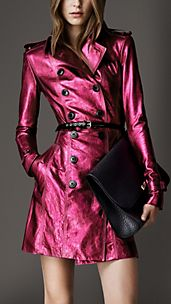 Mid-Length Metallic Leather Trench Coat