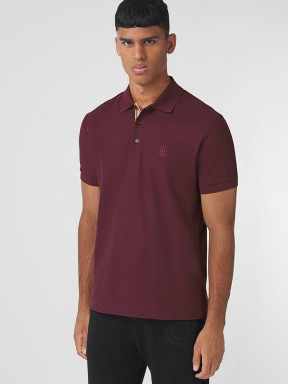 Monogram Motif Cotton Piqué Polo Shirt in Deep Maroon