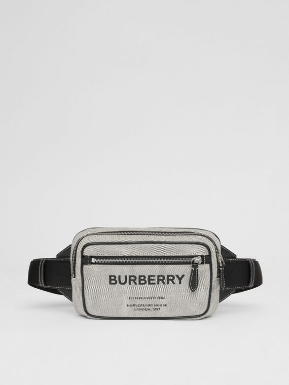 Horseferry Print Cotton Canvas Bum Bag in Black