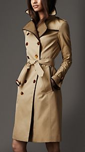 Long Cotton Gabardine Wool Detail Trench Coat